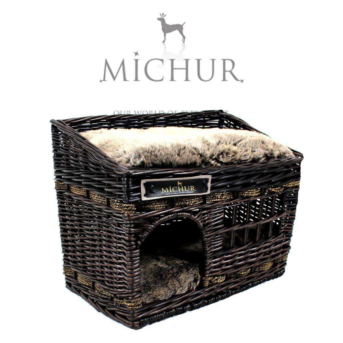 Handmade Wicker Dog Basket : Michur jerry dog cat basket bed cave rattan willow